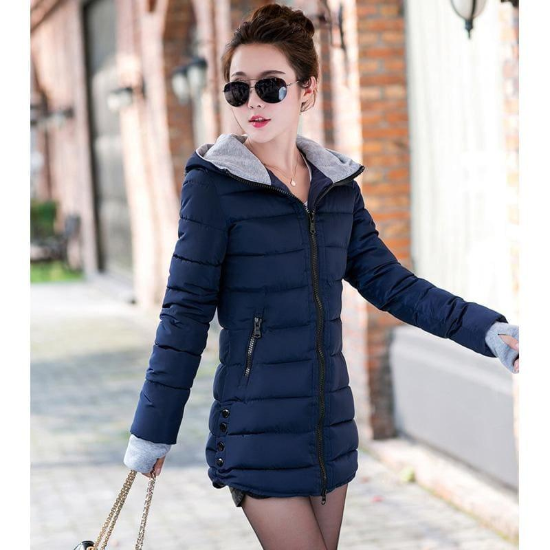 Winter Hooded Warm Candy Color Cotton Paddedcoat - Dark Blue / L - Coats