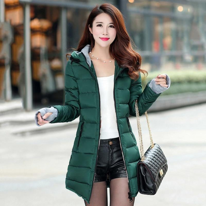 Winter Hooded Warm Candy Color Cotton Paddedcoat - Dark Green / L - Coats