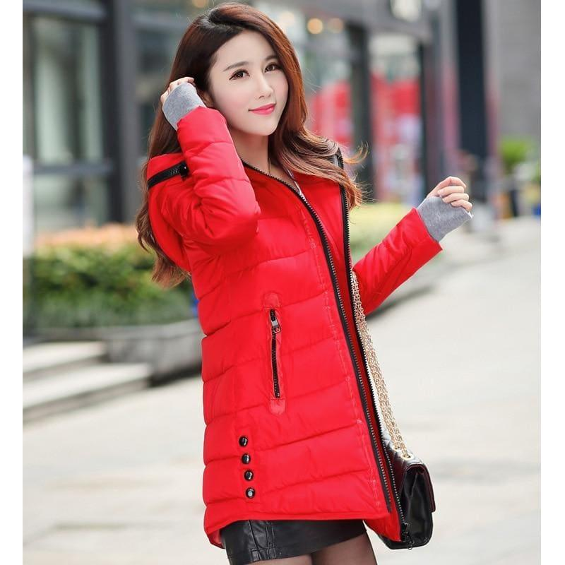 Winter Hooded Warm Candy Color Cotton Paddedcoat - Red / L - Coats