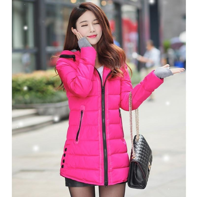 Winter Hooded Warm Candy Color Cotton Paddedcoat - Rose Red / L - Coats