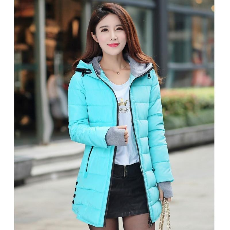 Winter Hooded Warm Candy Color Cotton Paddedcoat - Sky Blue / L - Coats