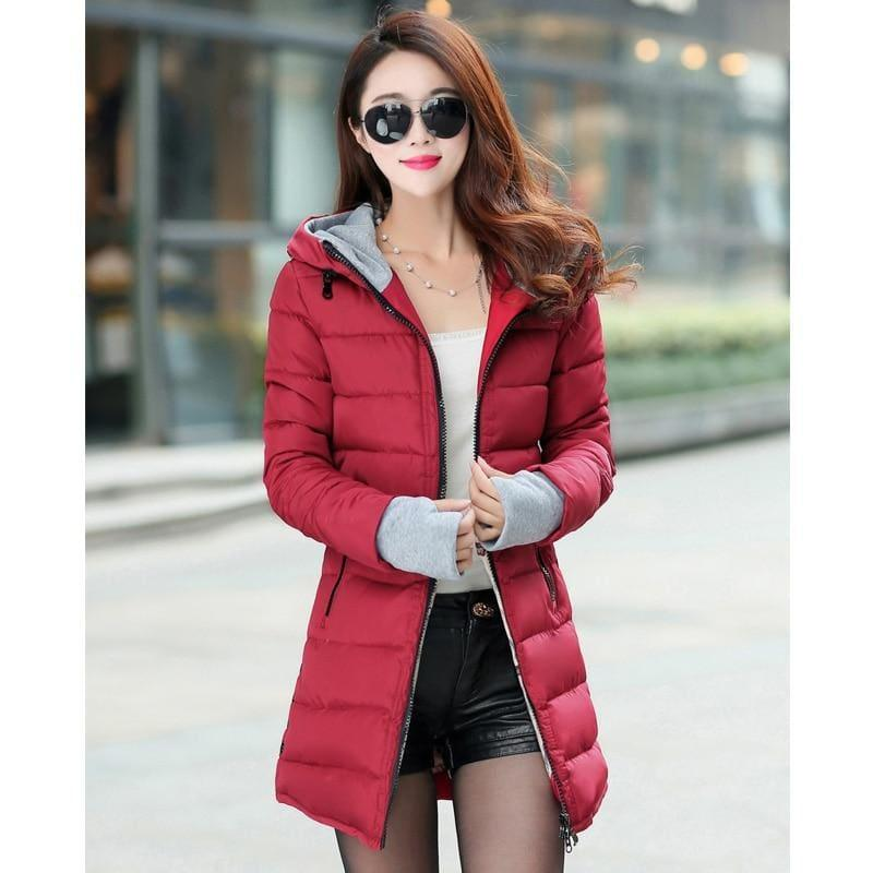 Winter Hooded Warm Candy Color Cotton Paddedcoat - Wine Red / L - Coats