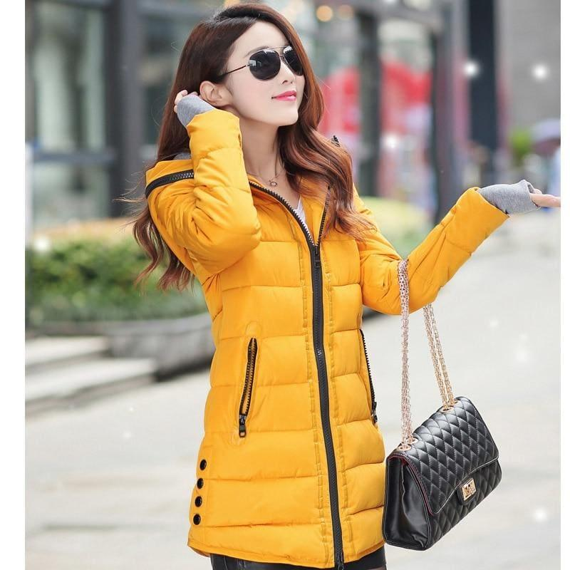 Winter Hooded Warm Candy Color Cotton Paddedcoat - Yellow / L - Coats