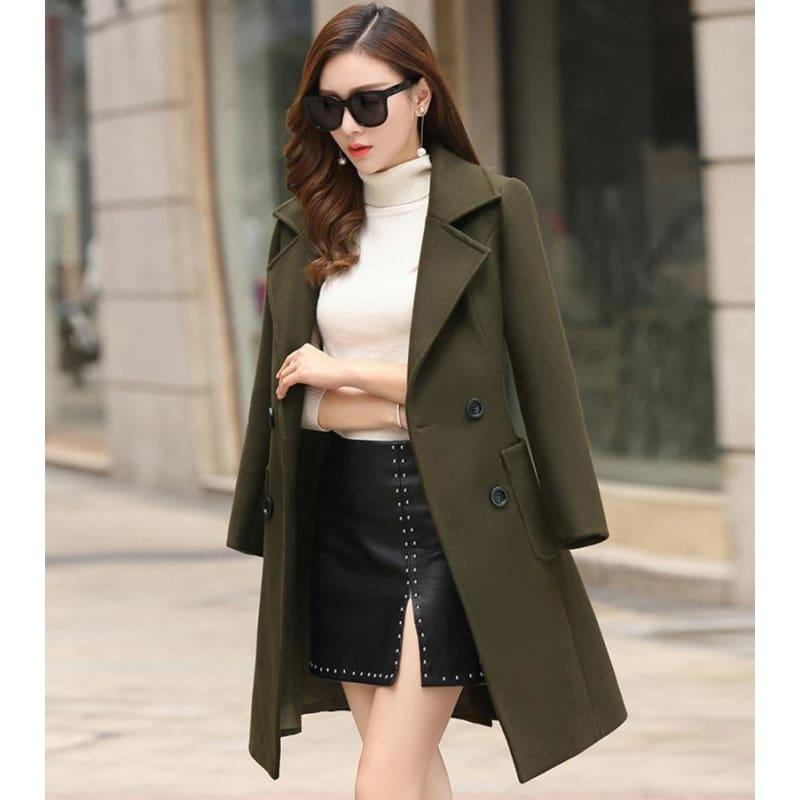 Winter Wool Coats Warm Slim Fit Fashion Casual Office Blends Coat - Army Green / L - Coats