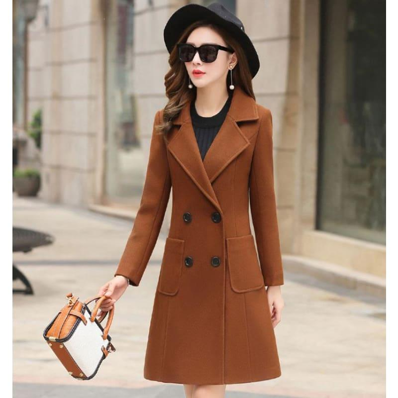 Winter Wool Coats Warm Slim Fit Fashion Casual Office Blends Coat - Brown / L - Coats