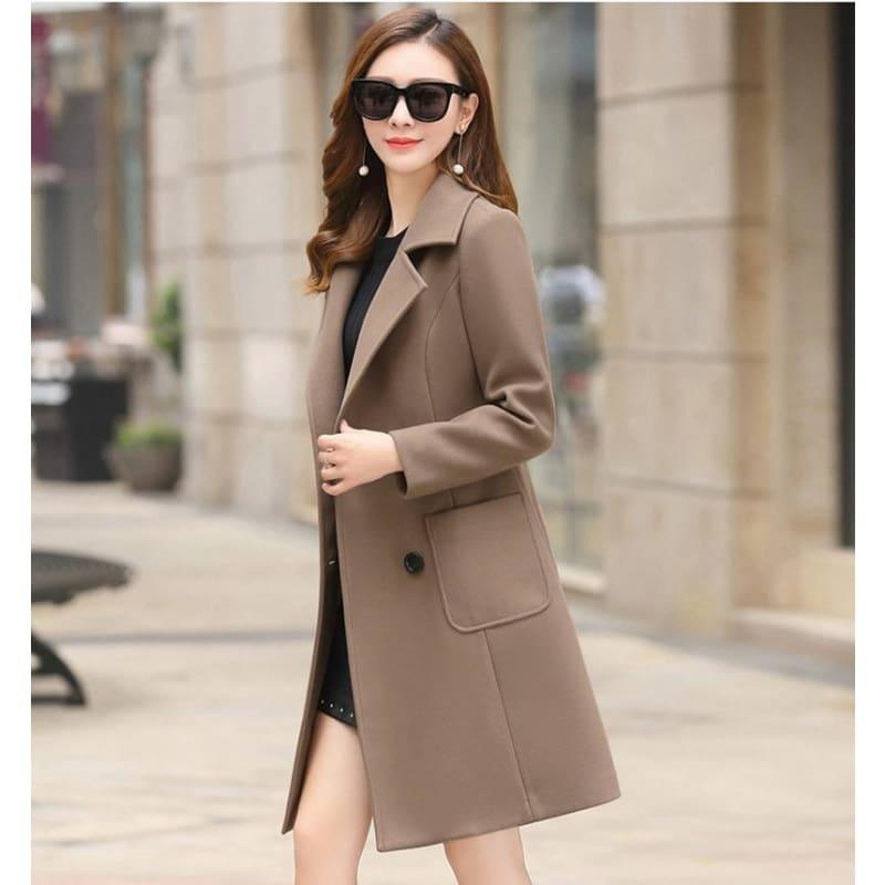Winter Wool Coats Warm Slim Fit Fashion Casual Office Blends Coat - Camel / L - Coats