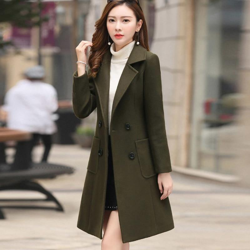 Winter Wool Coats Warm Slim Fit Fashion Casual Office Blends Coat - Coats