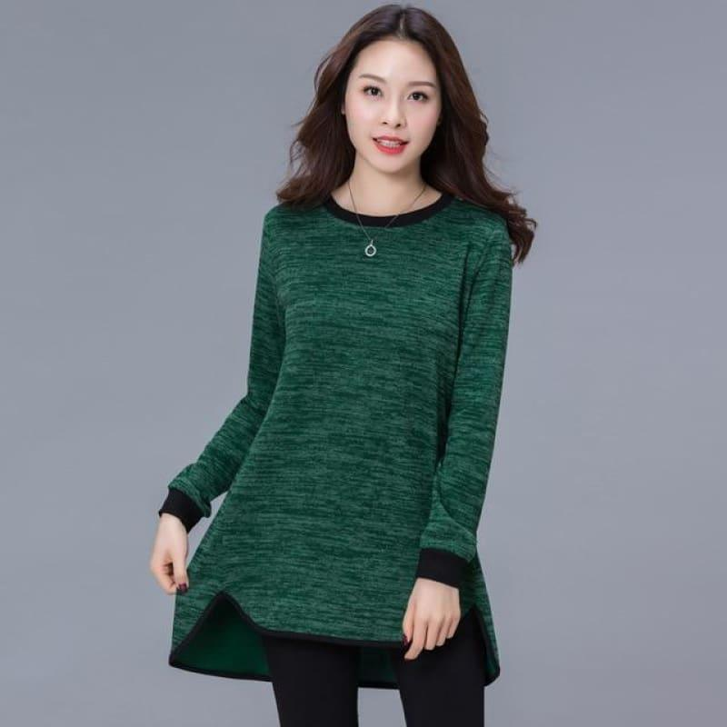 Womenlong Sleeve Casual Loose Top - Dark Green / Xxxl - Short Sleeve