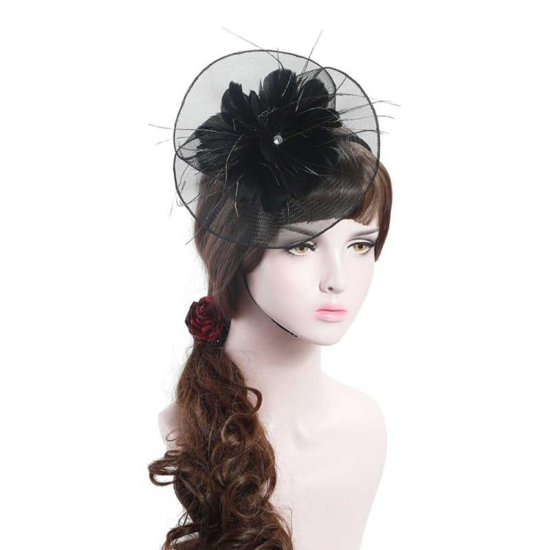 Wool Felt Top Hat Party Mesh Hat Ribbons And Feathers Fascinators Hats - Black - Hats