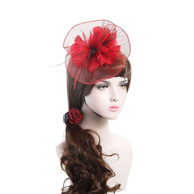 Wool Felt Top Hat Party Mesh Hat Ribbons And Feathers Fascinators Hats - Red - Hats