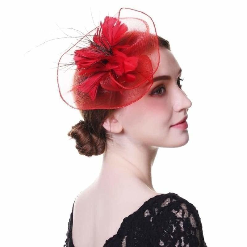 Wool Felt Top Hat Party Mesh Hat Ribbons And Feathers Fascinators Hats - Hats