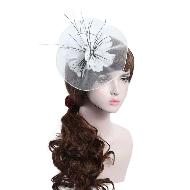 Wool Felt Top Hat Party Mesh Hat Ribbons And Feathers Fascinators Hats - White - Hats