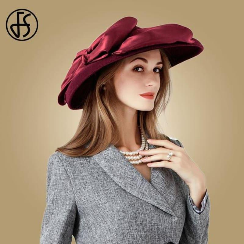 Wool Felt Women Fedoras Large Wide Brim Bowler Hats - Wine Red Wool Fedora - Hats