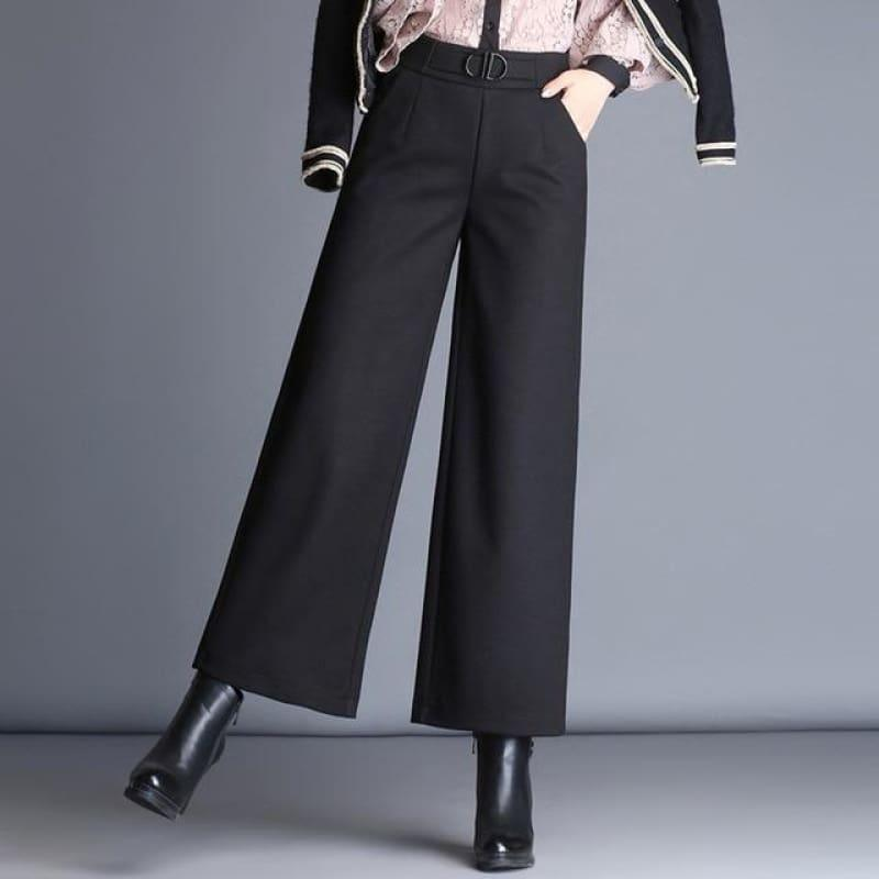 Woolen Nine Points Wide Leg Wild Thick Elastic High Waist Pants - Black / M - Pants