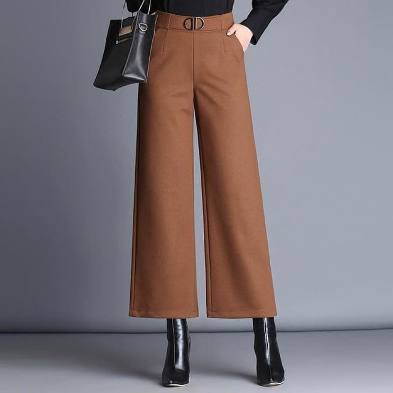 Woolen Nine Points Wide Leg Wild Thick Elastic High Waist Pants - Brown / M - Pants