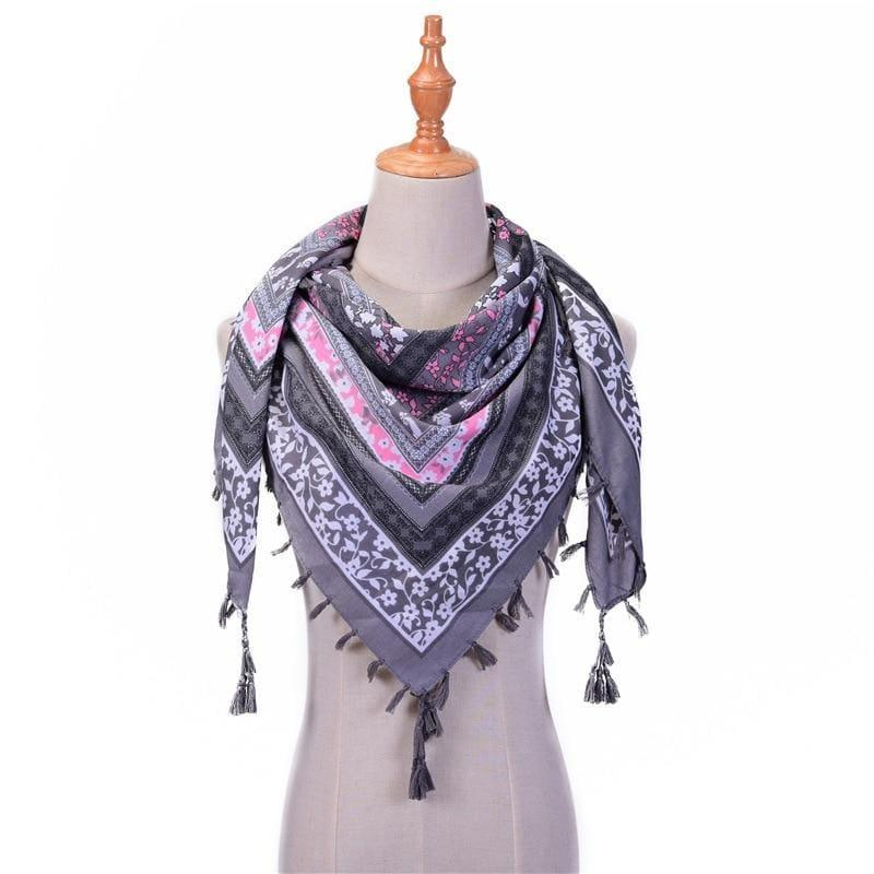 Wraps Cotton Print Tassels Scarf - Gray - Scarf
