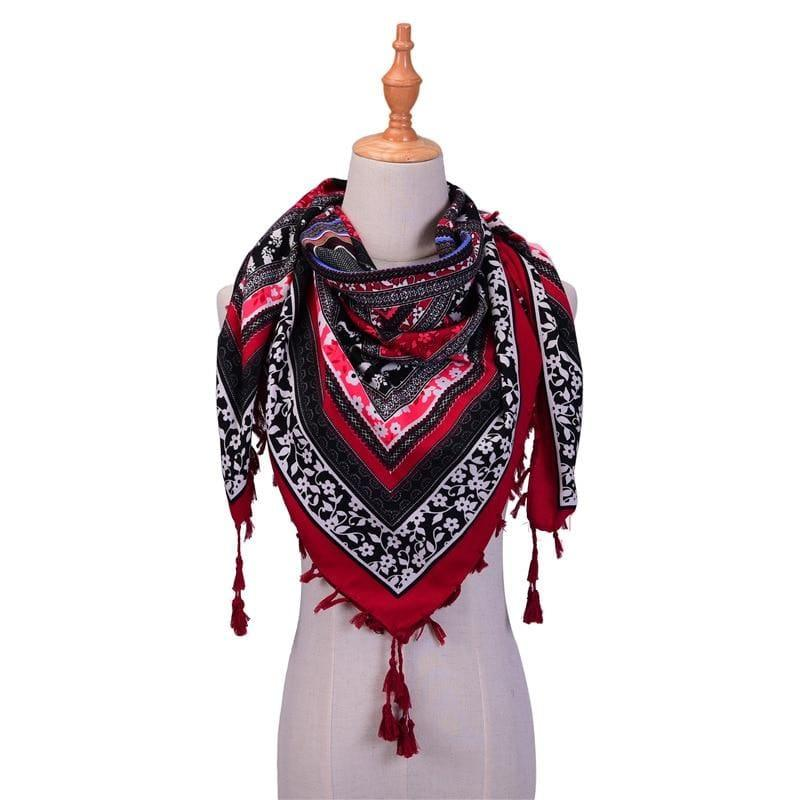 Wraps Cotton Print Tassels Scarf - Wine Red - Scarf