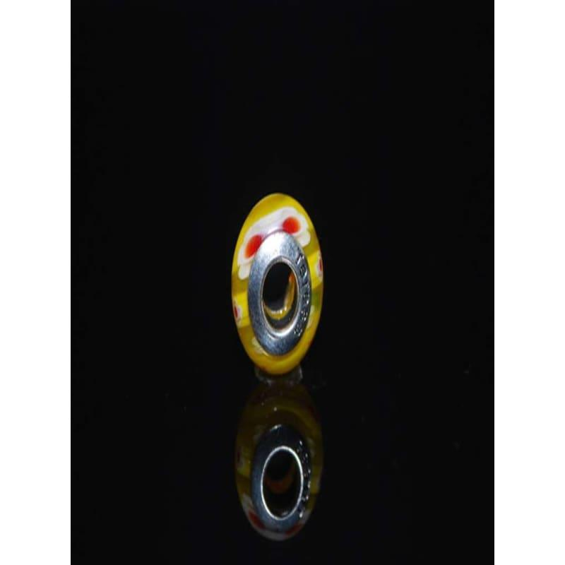 Yellow And Red Dot Murano Charm Bead - Charm Beads