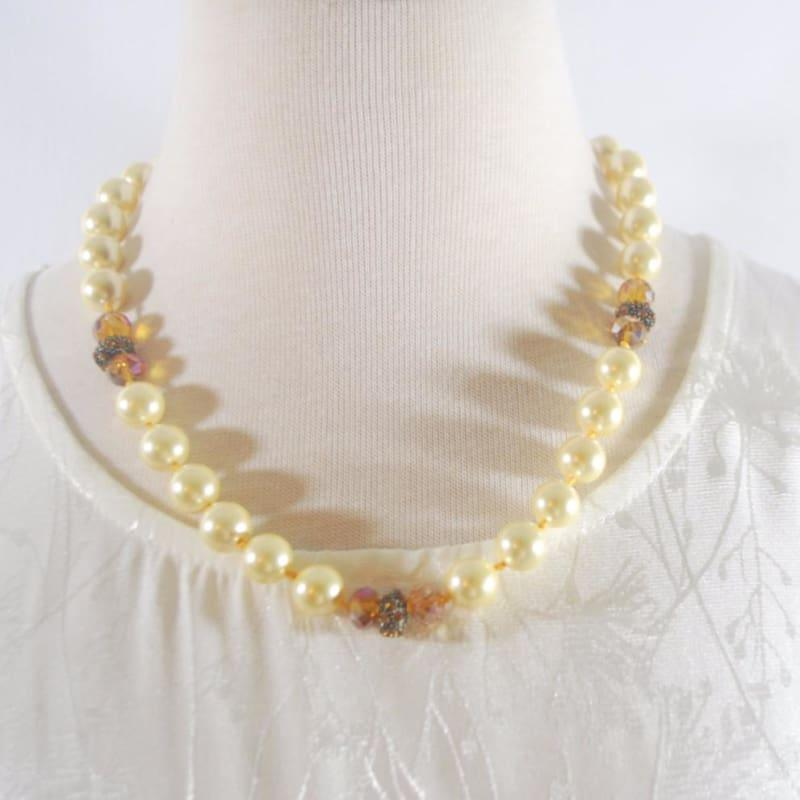 Yellow Shell Pearls with Copper Rhinestone Accent Necklace - Handmade
