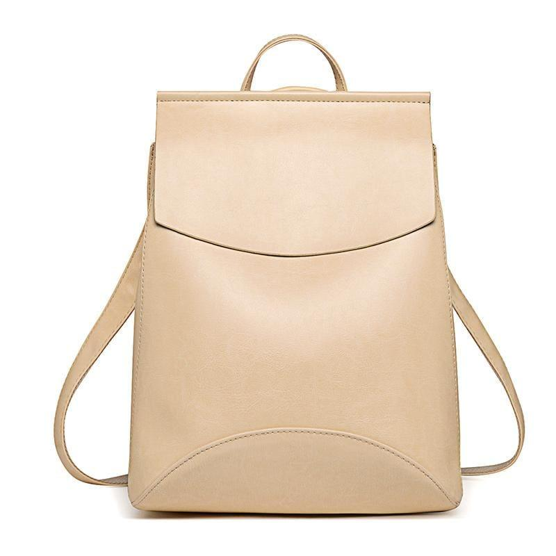 Youth Leather Backpacks Shoulder Bag - Beige - Backpacks