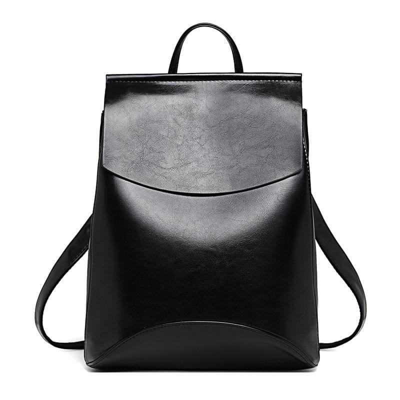 Youth Leather Backpacks Shoulder Bag - Black - Backpacks