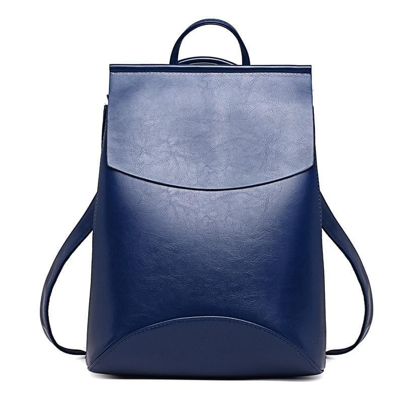 Youth Leather Backpacks Shoulder Bag - Blue - Backpacks