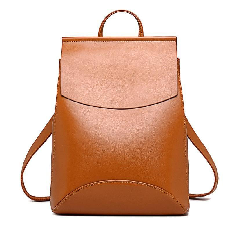 Youth Leather Backpacks Shoulder Bag - Brown - Backpacks