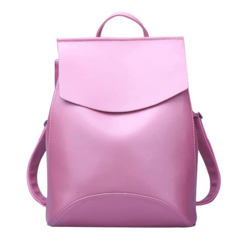 Youth Leather Backpacks Shoulder Bag - Dark Pink New - Backpacks