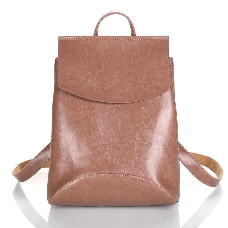 Youth Leather Backpacks Shoulder Bag - Dark Pink - Backpacks