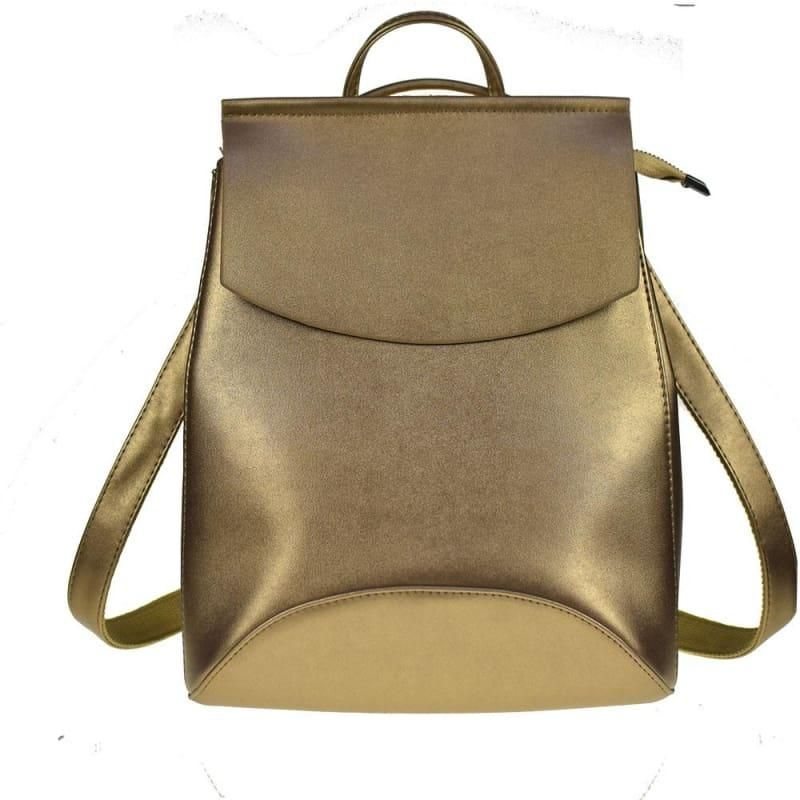 Youth Leather Backpacks Shoulder Bag - Golden - Backpacks