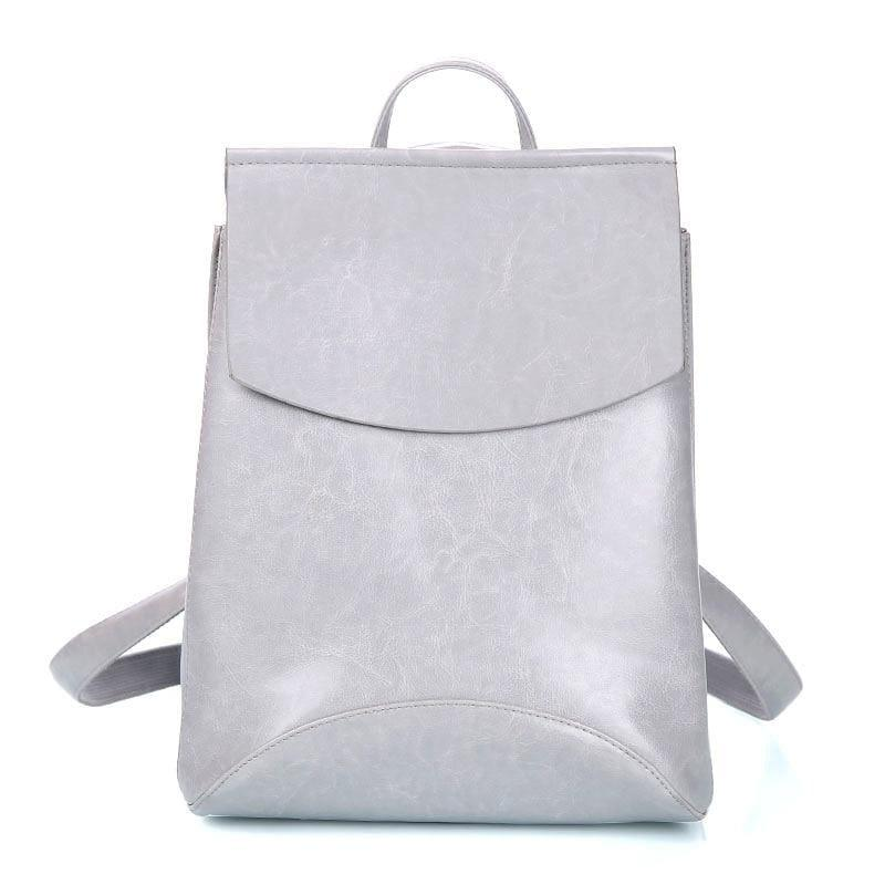 Youth Leather Backpacks Shoulder Bag - Gray - Backpacks