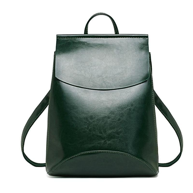 Youth Leather Backpacks Shoulder Bag - Green - Backpacks