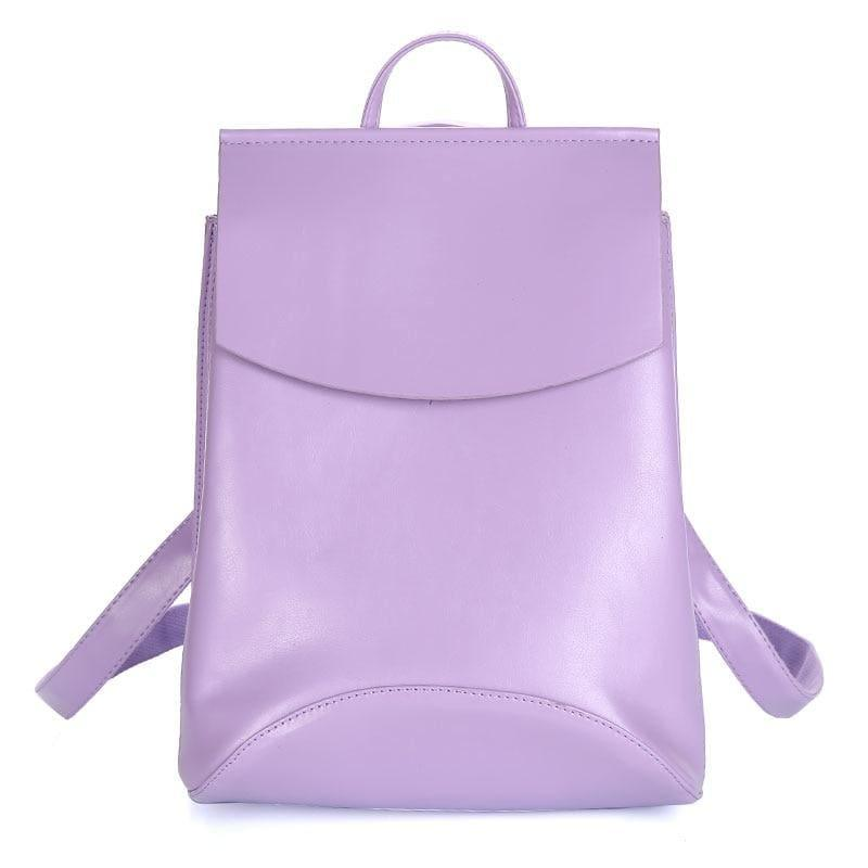 Youth Leather Backpacks Shoulder Bag - Purple - Backpacks