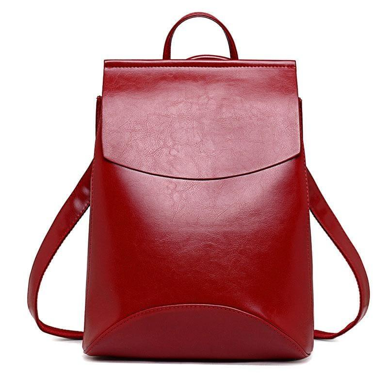 Youth Leather Backpacks Shoulder Bag - Red - Backpacks