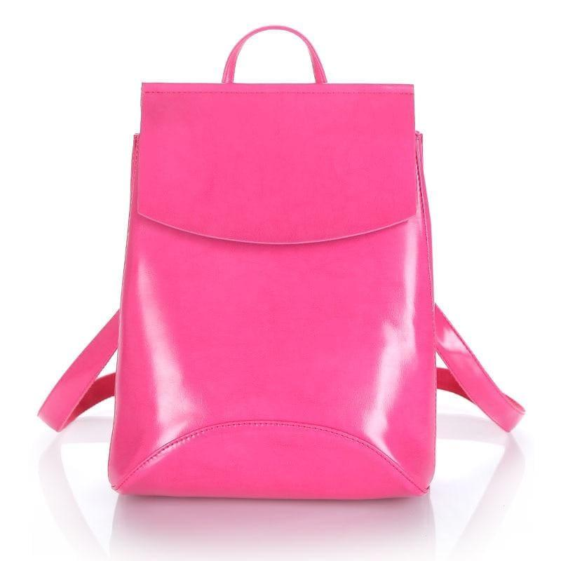 Youth Leather Backpacks Shoulder Bag - Rose Red - Backpacks