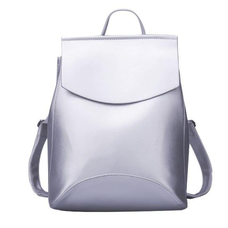 Youth Leather Backpacks Shoulder Bag - Silver White - Backpacks