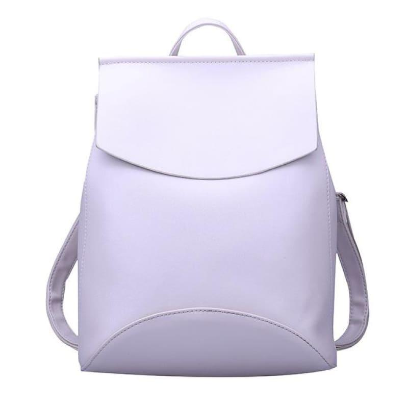 Youth Leather Backpacks Shoulder Bag - White - Backpacks