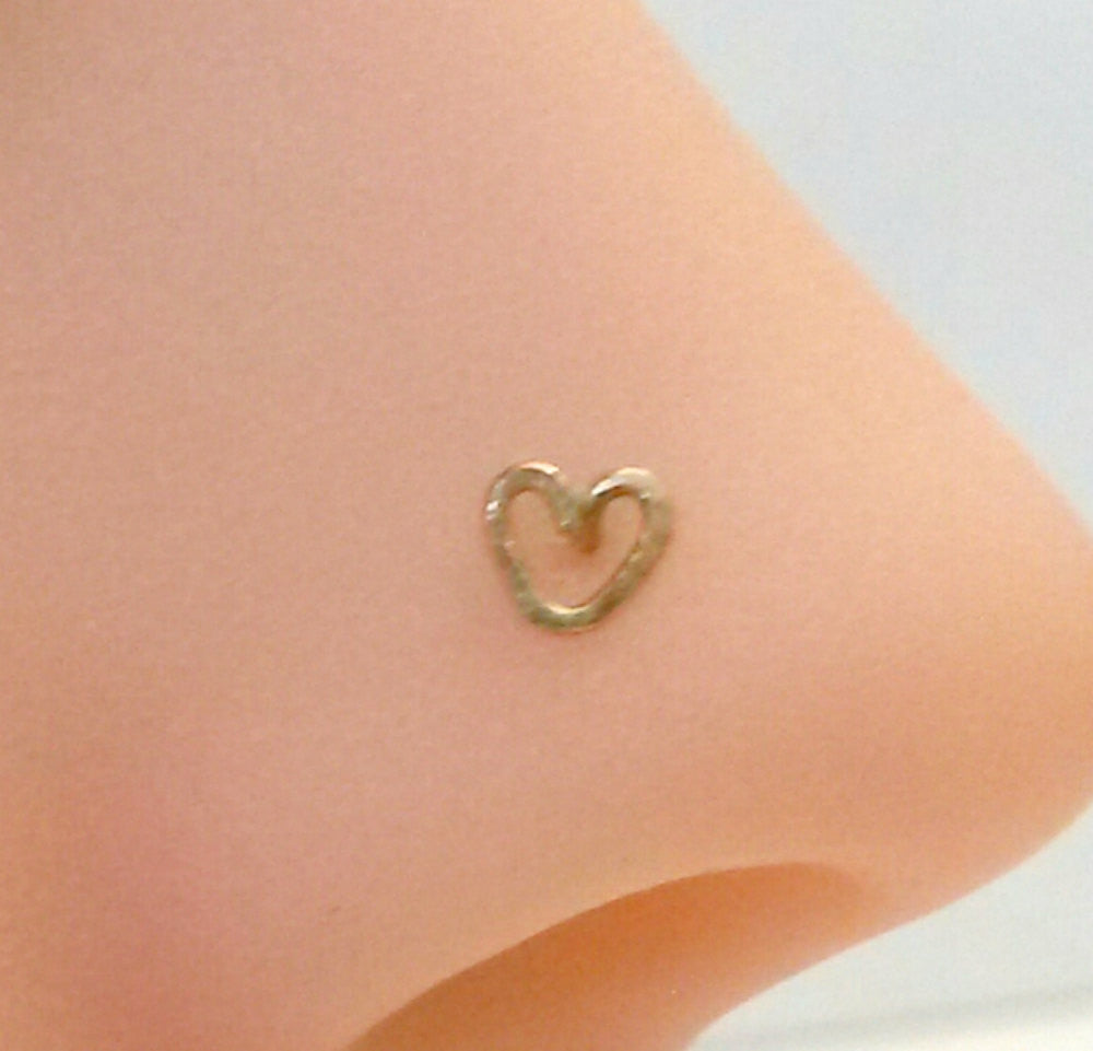 Heart Nose Ring, Heart Nose Stud, Helix, Tragus, Cartilage, Earring 14K Gold Filled