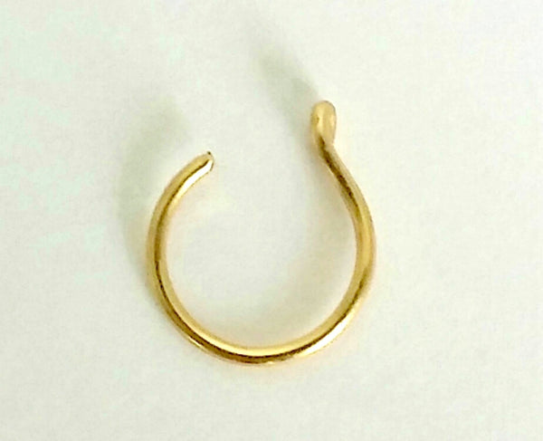 Fake Nose Ring,  Fake Nose Hoop, Non Pierced Hoop, Cartilage cuff, Lip Cuff  14K Gold Filled