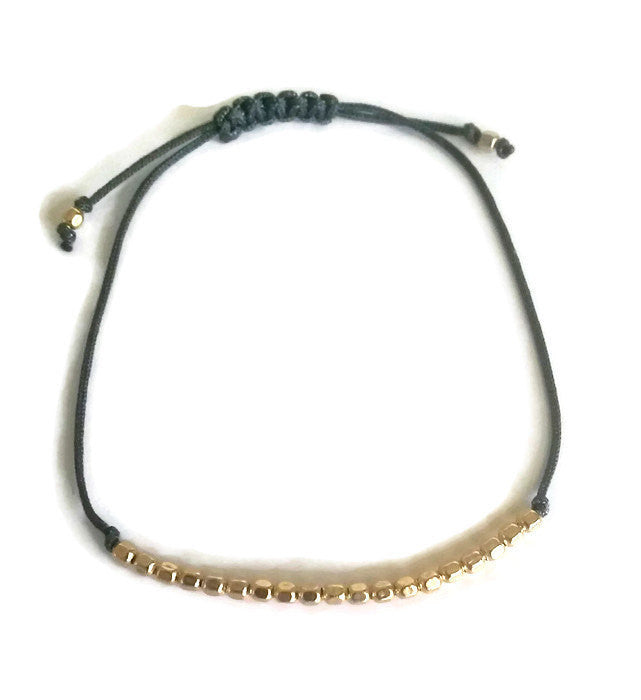 Small Minimalist Dainty Beaded Bracelet Adjustable Gold Filled
