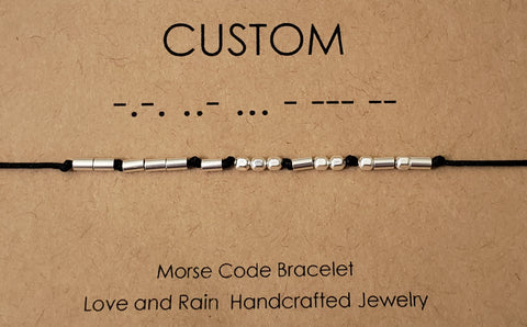 Morse Code Secret Code Bracelet Sterling Silver Custom Name or Saying