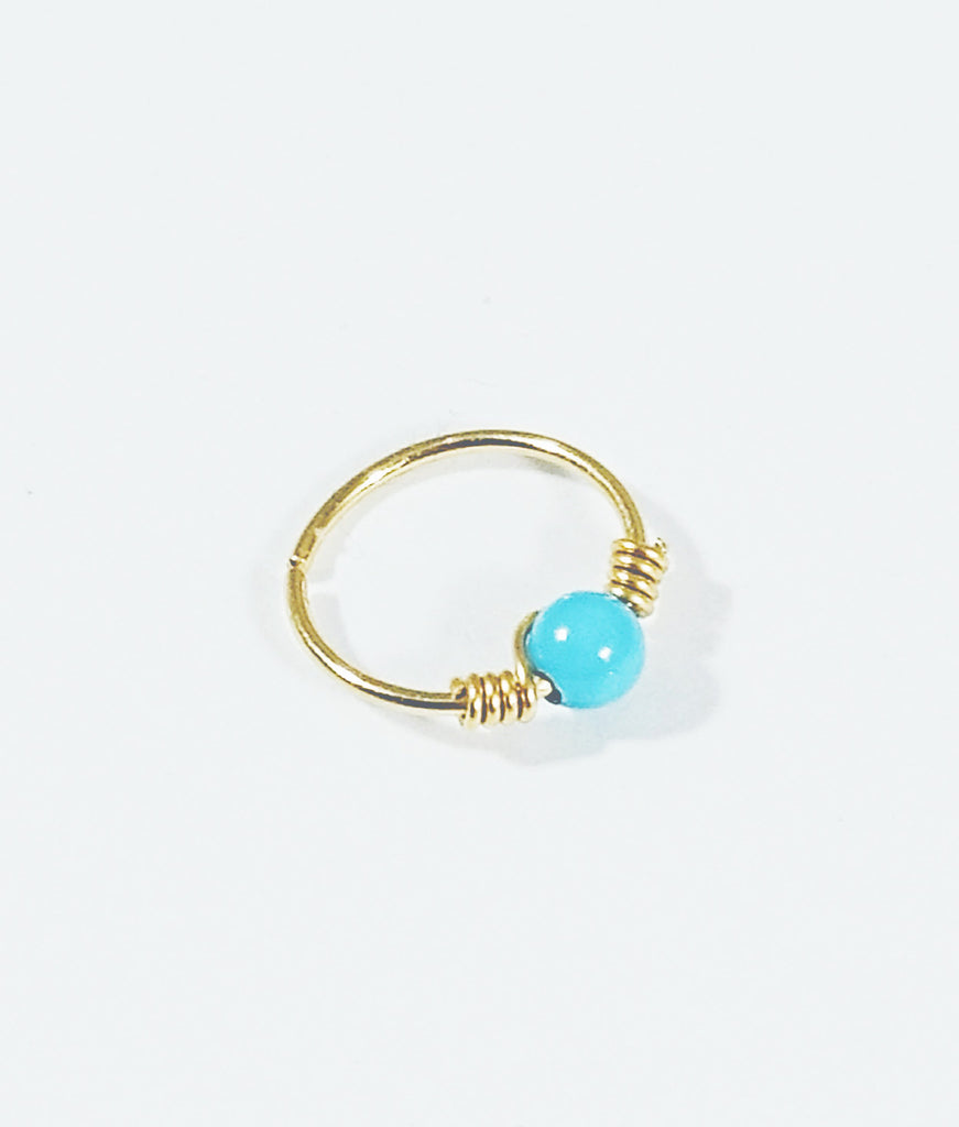 Nose Hoop 14k Gold Filled Wire Wrapped with Turquoise Crystal