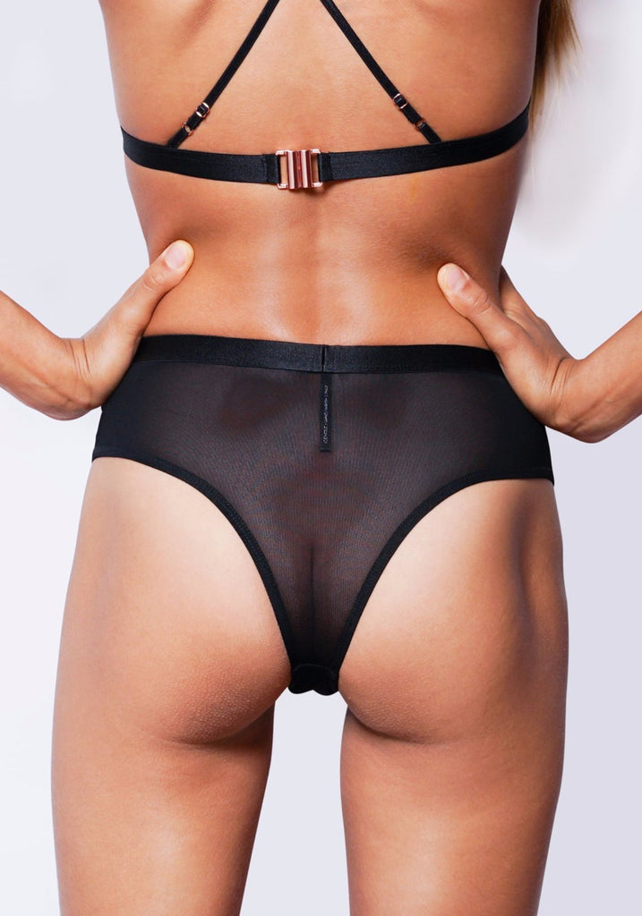 ALEXIS HIGH WAISTED CHEEKY G-STRING (Black)