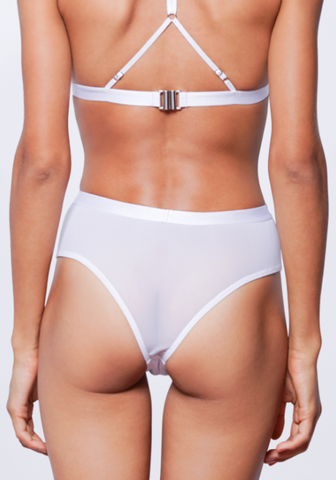 ALEXIS HIGH WAISTED CHEEKY G-STRING (White)