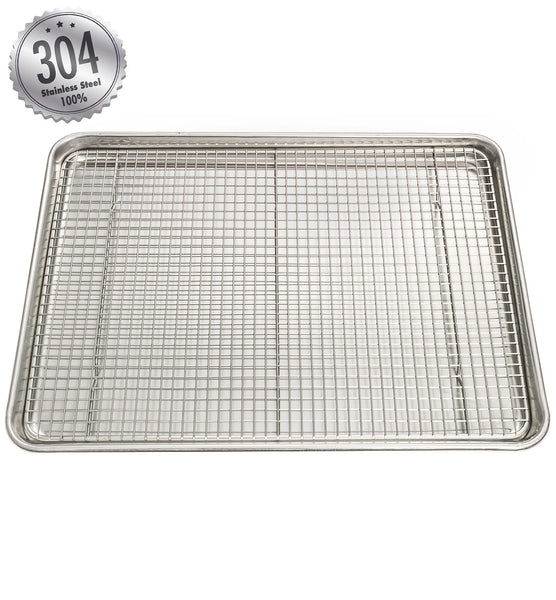 half sheet stainless steel cooling u0026 baking rack free nonstick silicone spatula included