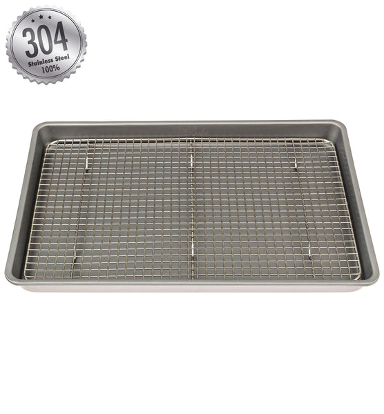 "10"" x 15"" Stainless Steel Cooling & Baking Rack - FREE Non-Stick Silicone Spatula Included!"