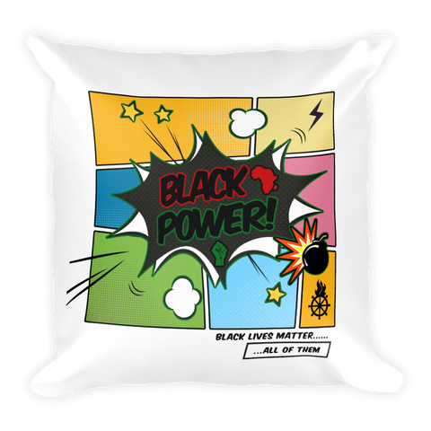 Black Power Pillow (Square w/ Stuffing)