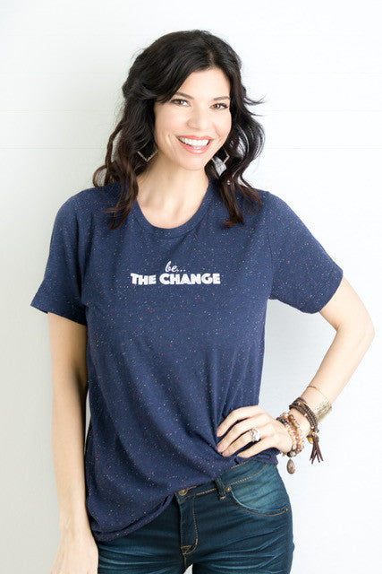 "be . . . THE CHANGE short sleeve navy ""confetti"" tee"