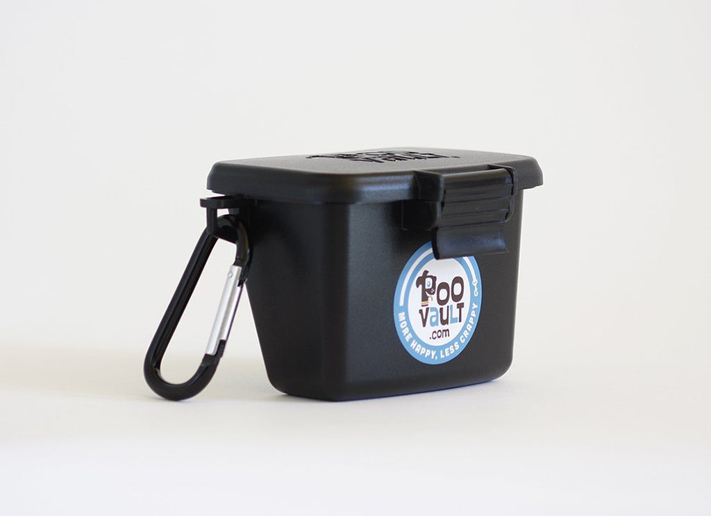 Original Black PooVault with Your Choice of Sticker on Front - Dog poop bags