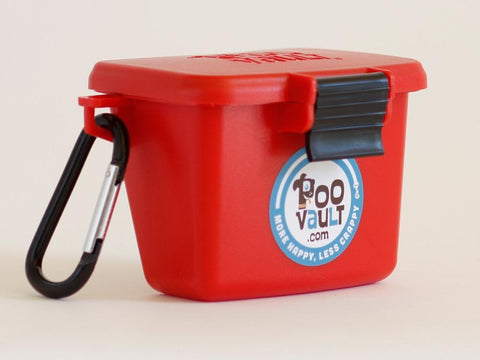 Original Red PooVault with Easy Latch - Dog poop bags